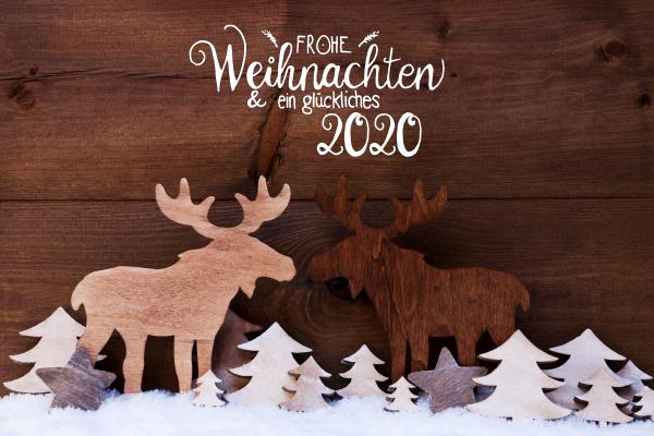 moose wooden tree snow glueckliches 2020
