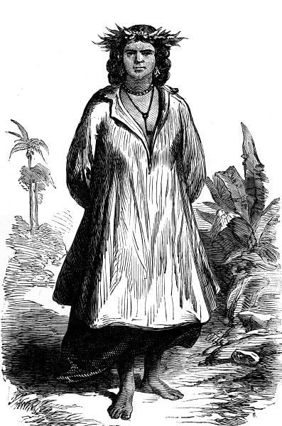 tahiti type of woman vintage engraving