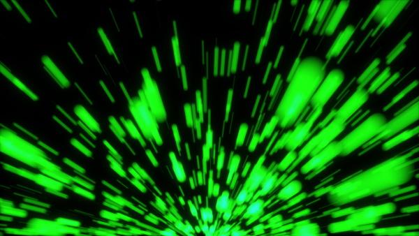 flight of green lights streak in
