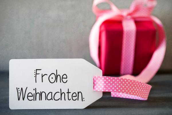 pink christmas gift calligraphy frohe