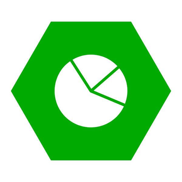 pie chart and hexagon