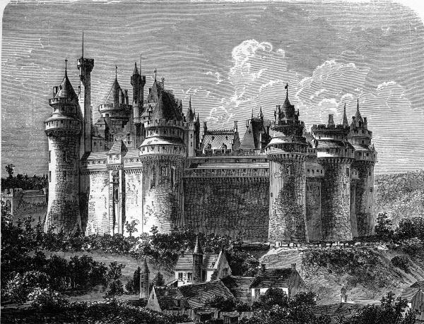 chateau de pierrefonds vintage engraving