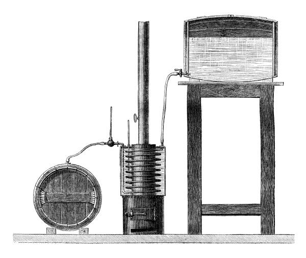 heating wines vintage engraving