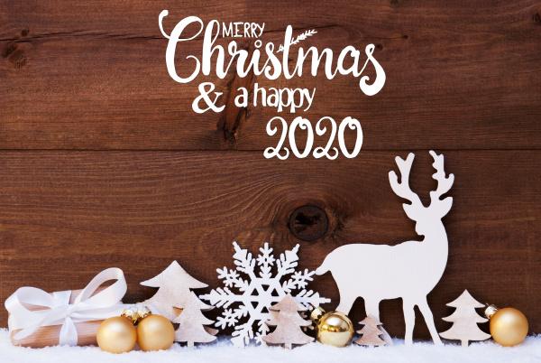 reindeer gift tree golden ball snow
