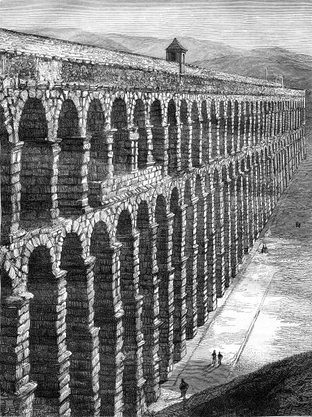 roman aqueduct in merida vintage
