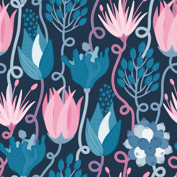 floral seamless pattern hand drawn