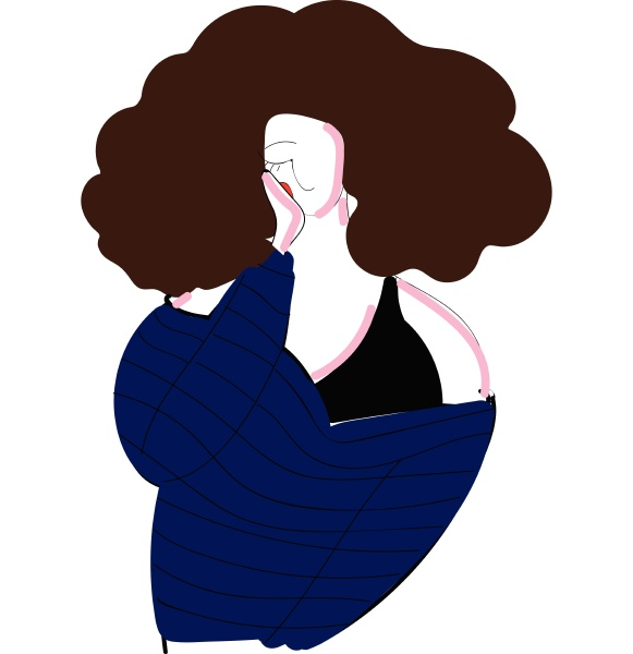 girl with curly brown hair vector