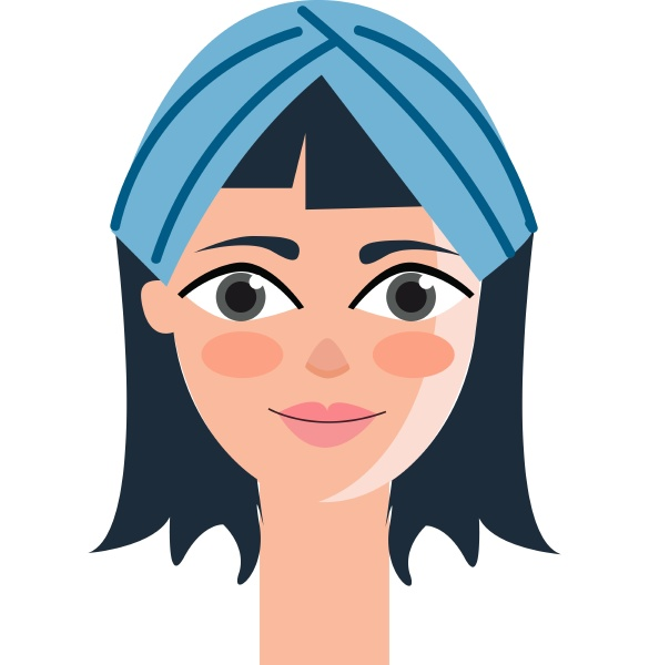 beautiful girl with blue headband vector