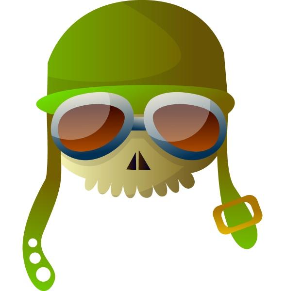cartoon skull with aviation hat vector