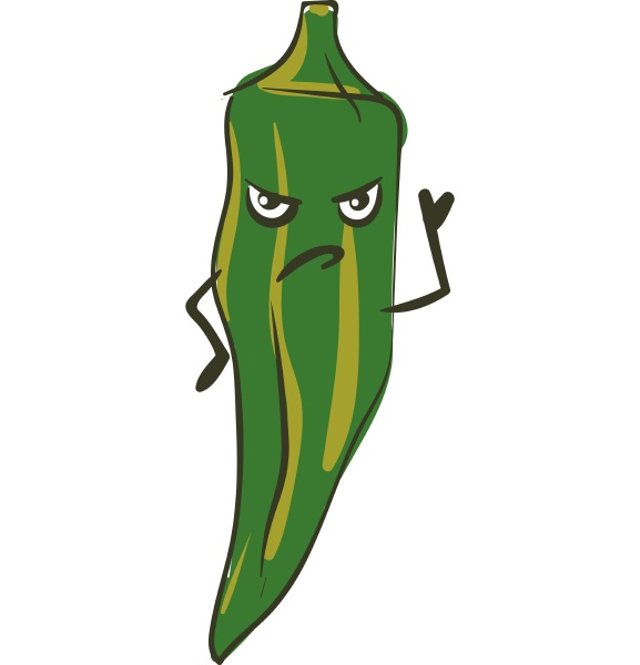 angry okra vector or color illustration