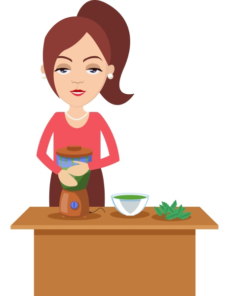 woman making healthy drink illustration vector