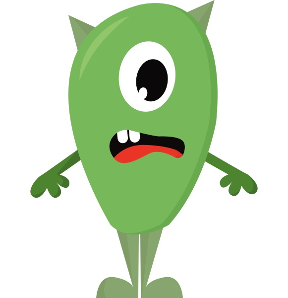 suprised lime green one eyed monster