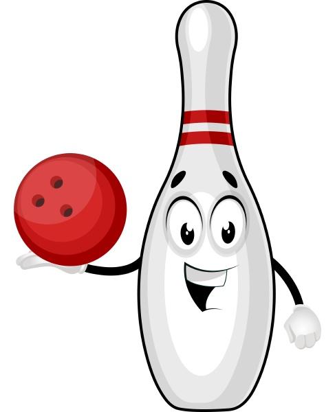 bowling pin with bowling ball illustration