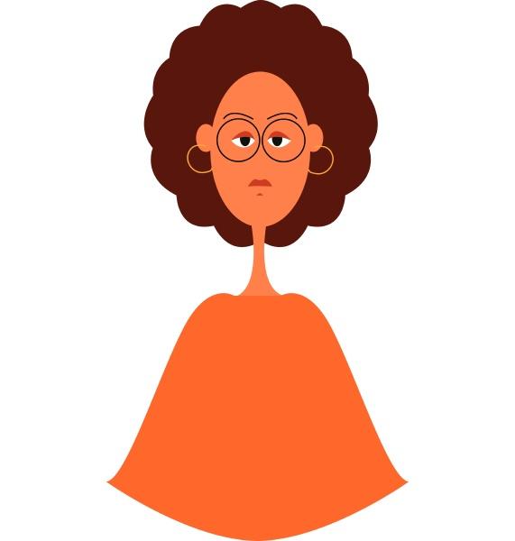 beautiful curly cartoon girl vector illustration