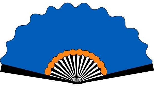 blue fan illustration vector on white