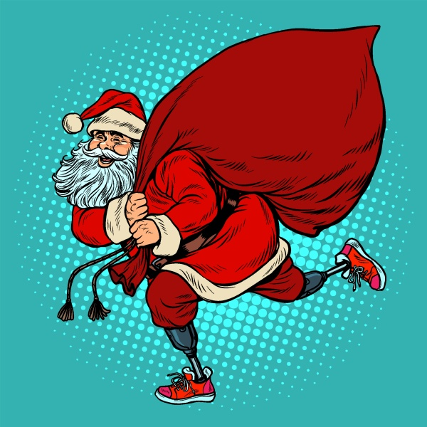 santa claus disabled on prostheses delivers