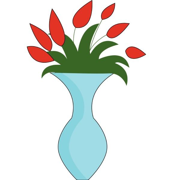 flowers in vase hand drawn design