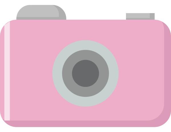 pink camera illustration vector on white