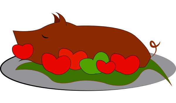 a roasted pig vector or color