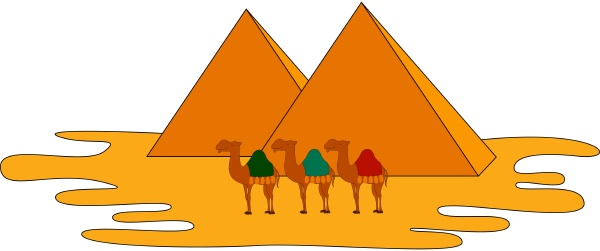 camels and pyramids illustration