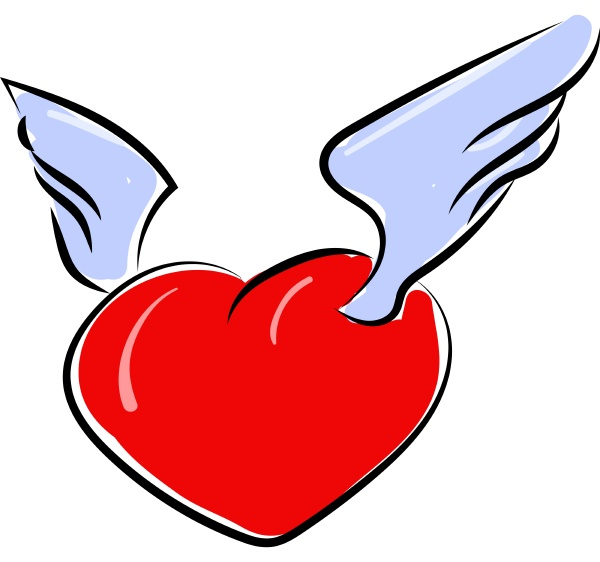 heart with wings illustration vector on