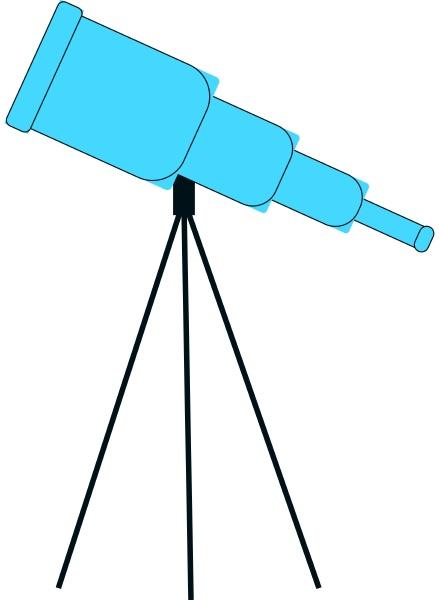 blue telescope illustration vector on white