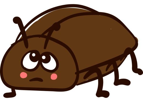 sad beetle illustration vector