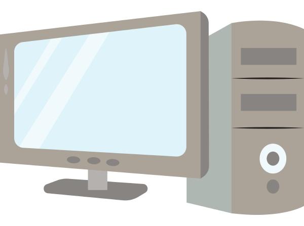 computer setup illustration vector on white