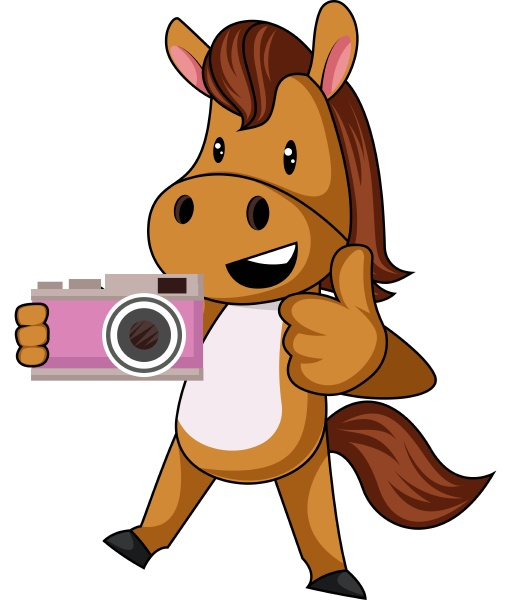horse with camera illustration vector on