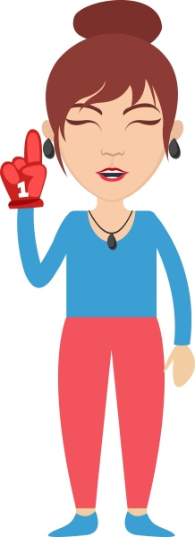 woman with red glove illustration