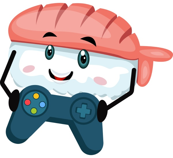 sushi with gamepad illustration vector on