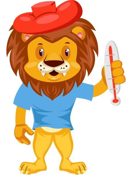 sick lion illustration vector