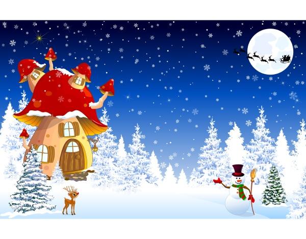 mushroom house snow trees night christmas