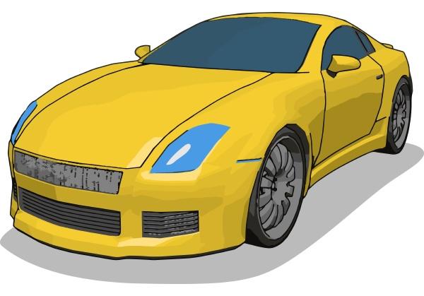 yellow luxury car illustration
