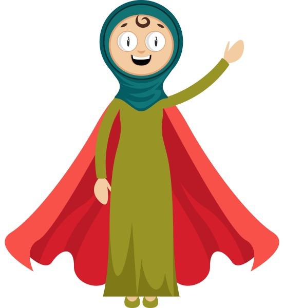 woman with red cape illustration vector