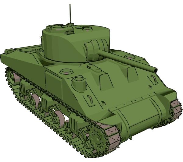 green military tank illustration vector on