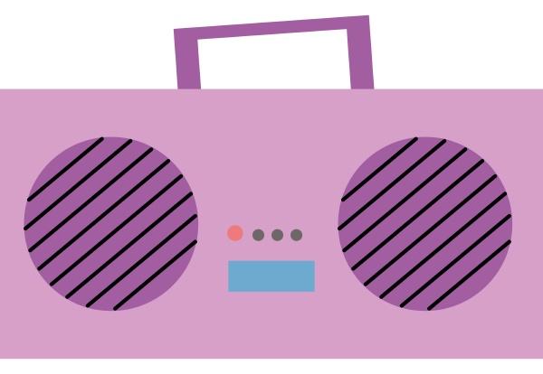 pink radio illustration vector on white