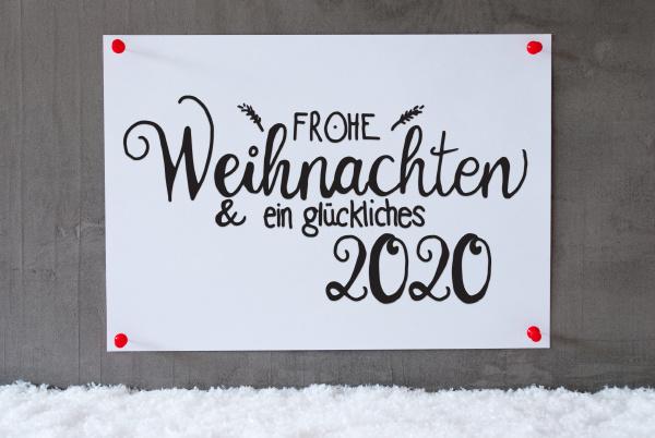 white paper sign snow glueckliches 2020