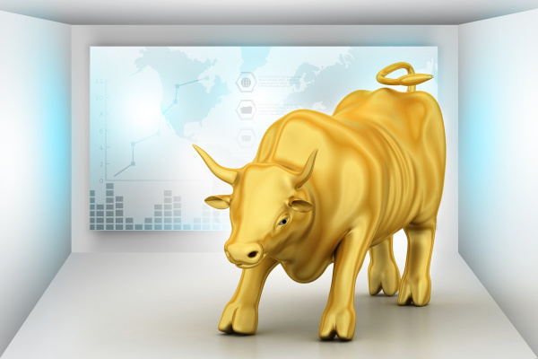 rising golden business bull in color