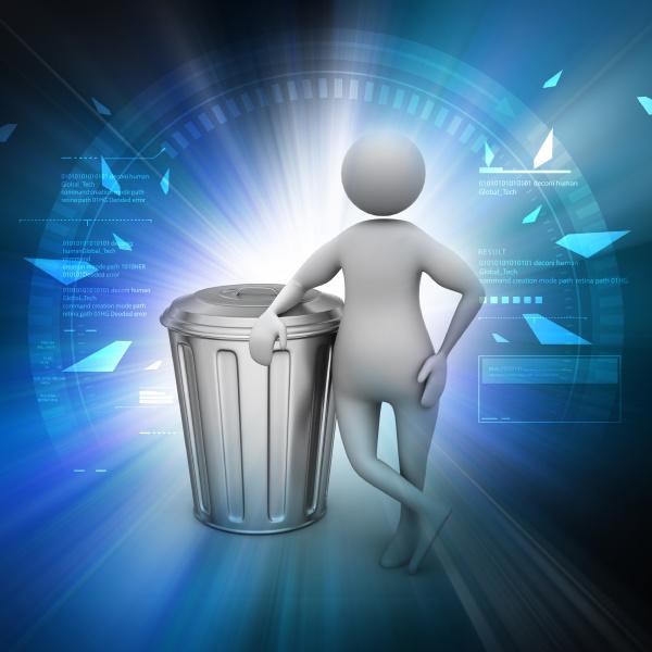 3d man with trash bin