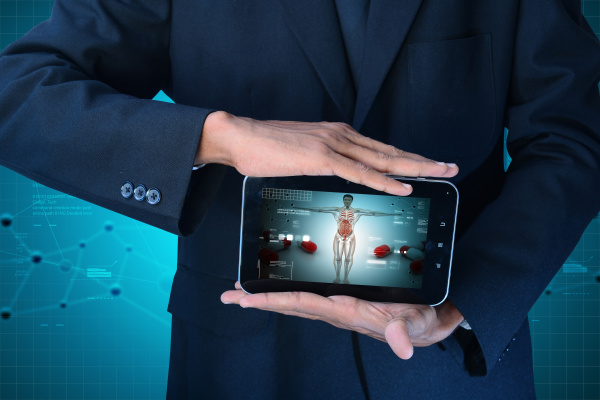 showing human anatomy in tablet computer