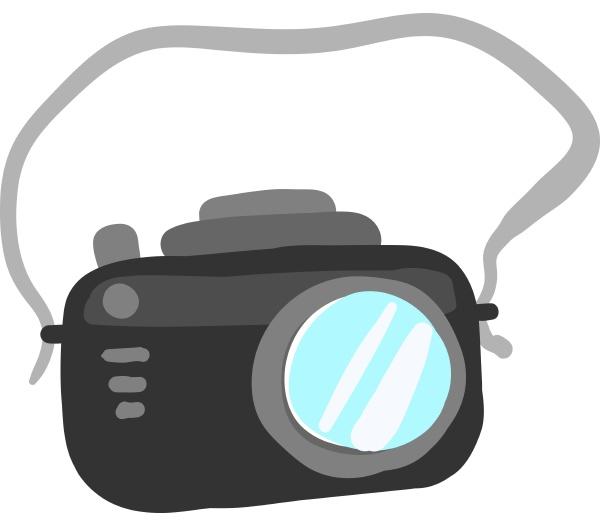 black camera illustration vector on white