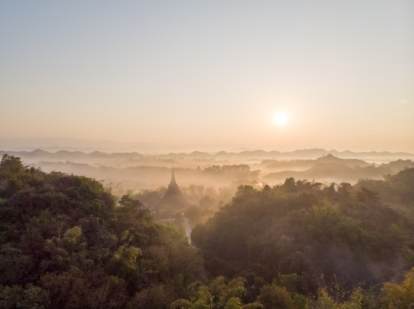 aerial view of mrauk u pagoda