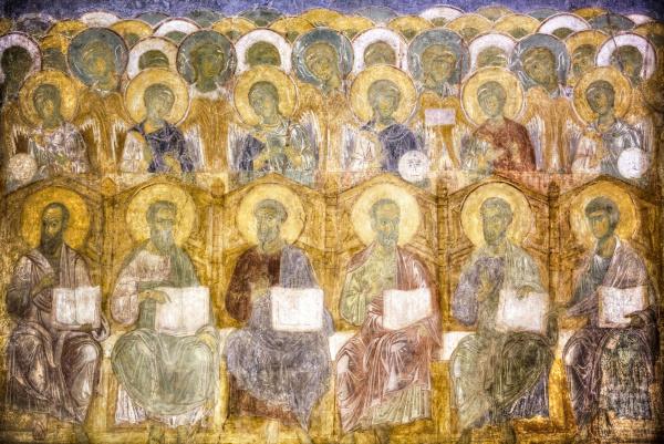 religious artwork depicting religious figures sitting