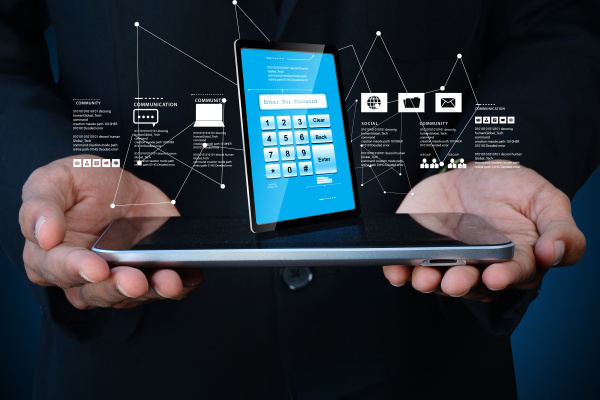 man hand showing tablet pc with