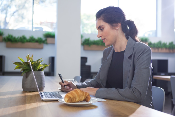 female executive working at desk while