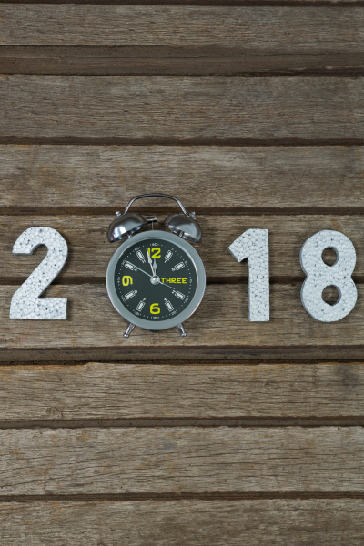 new year 2018 with clock reach