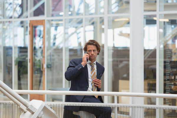 businessman talking on mobile phone in