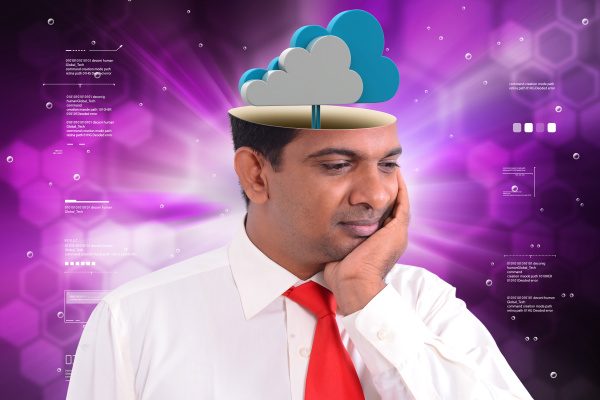 man head with cloud concept