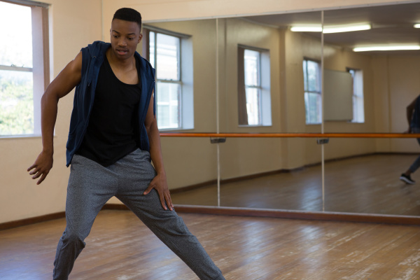 young dancer practicing at studio